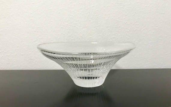 Tapio Wirkkala 3139 Line Cut Art Glass Crystal Vase  Finnish