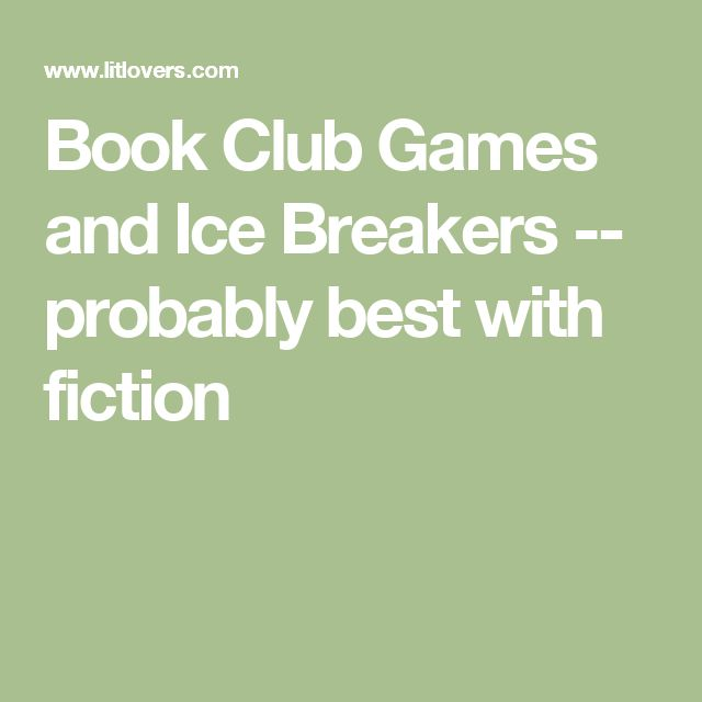 book club games and icebreakers