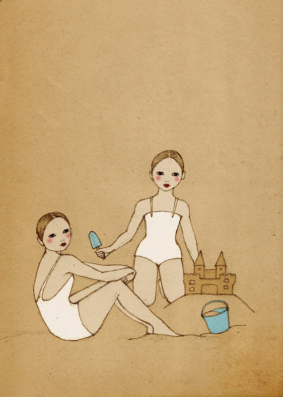 Love this artist.  Girls building a Sand Castle print of original by IrenaSophia, $20.00: Art Drawings Tutorials, Sand Castles, Castle Mate, The Beach