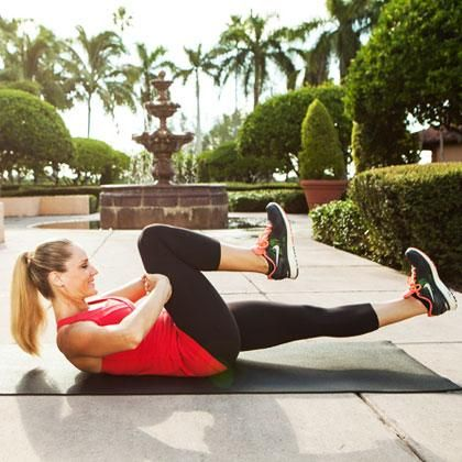 Your stomach will be shaking in no time with this deceptively difficult move.