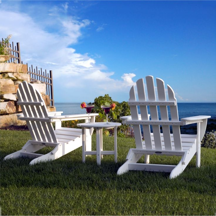 Poly-Wood classic Adirondack Chairs feature a contoured seat and an angled back for maximum comfort. - (more below) $445.00