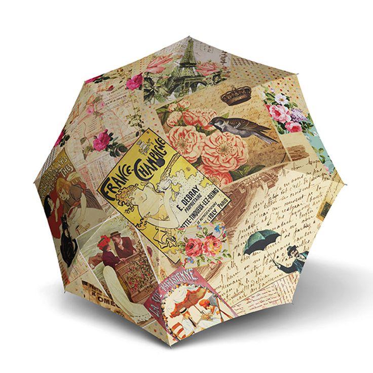 "Doppler Modern Art Collection ""Vintage"" Paris Auto Open & Close Folding Umbrella"