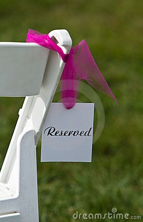 Reserved Seat at an outside wedding ceremony