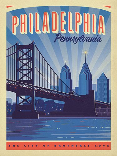Philadelphia: Benjamin Franklin Bridge - Anderson Design Group has created an award-winning series of classic travel posters that celebrates the history and charm of America's greatest cities and national parks. This print features a lovely view of the Philadelphia skyline. Printed on heavy gallery-grade matte finished paper, this print will add a classic sense of patriotic pride to any home or office wall.