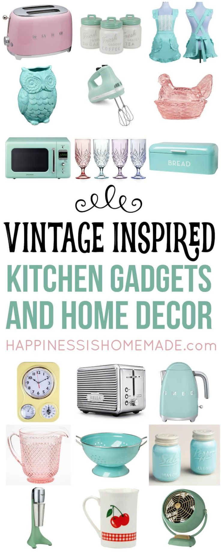Nostalgic Vintage-Inspired Kitchen Decor and Gadgets that are perfect for your kitschy retro revival kitchen! Must-have classic appliances, gadgets, decor and more! via @hiHomemadeBlog