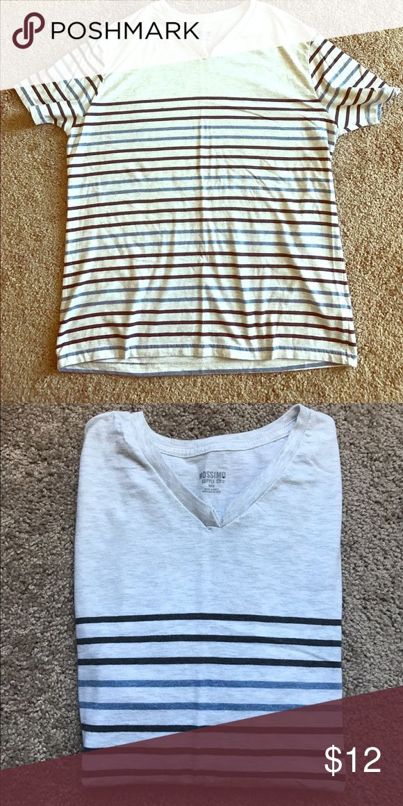 Striped tee Cute little striped v-neck tee. Worn only a couple times. Technically a men's top, so I would say if you wear a m/l in women you're groovy Mossimo Supply Co Tops Tees - Long Sleeve