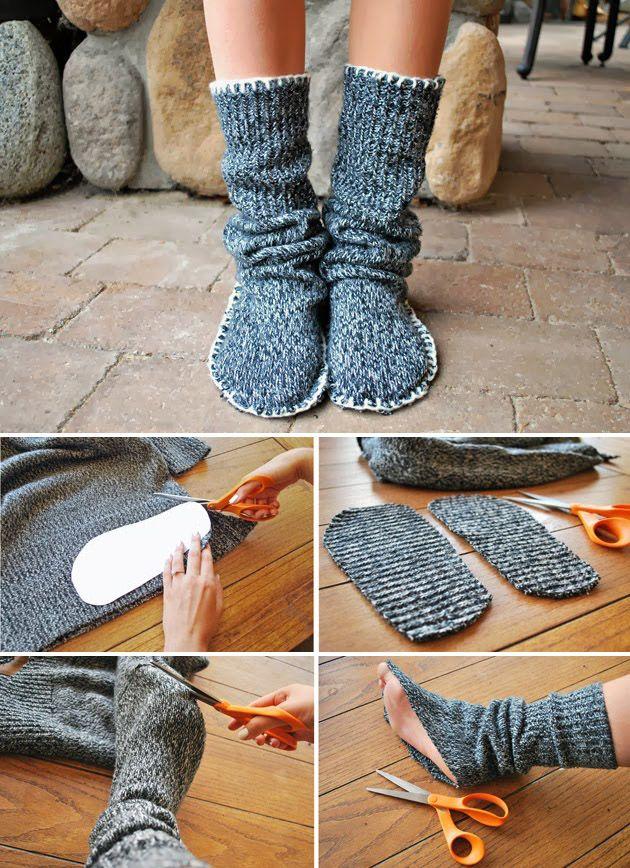 Partiendo de un viejo suéter o jersey en desuso podremos hacer, tal y como vemos en las imágenes, este increíble par de abrigadas zapatillas de andar por casa. Una idea fantástica que nos ayudará a mantener los pies calientes sin perder un ápice de comodidad. Más información enDrawings Und…