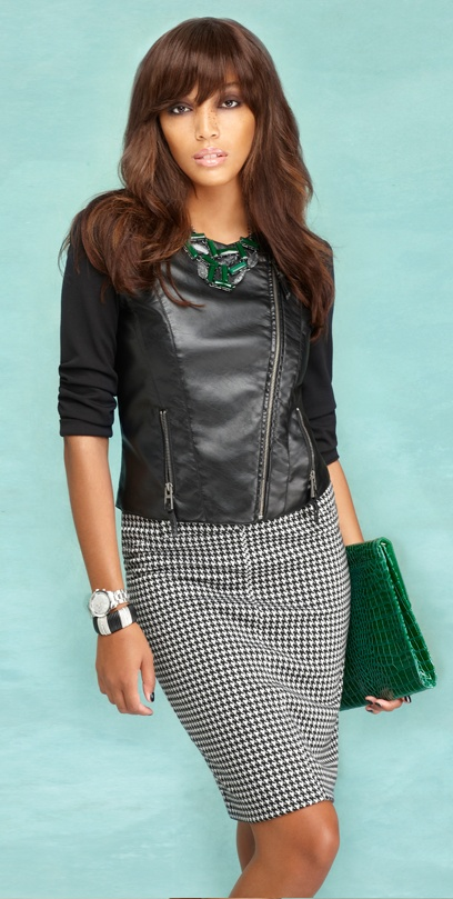 Sharpen your pencil with this season's important bold print - houndstooth.: Cat, Fashion Style, Bold Prints, Dreams Work, Fall Checklist, Pencil Skirts, Latest Trends, Faux Leather Jackets, Chic Clothing