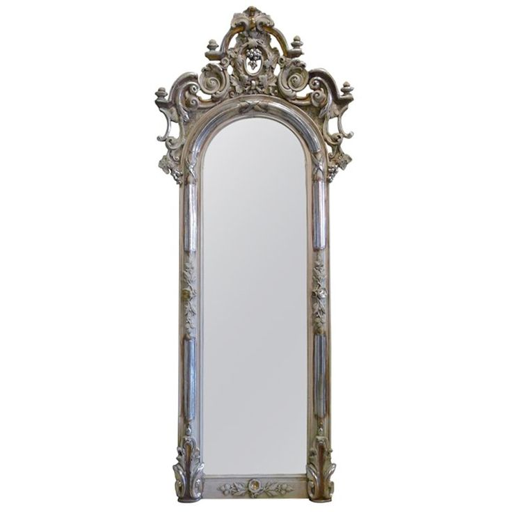 19th Century Silver Gilded Baroque Mirror | See more antique and modern Mantel Mirrors and Fireplace Mirrors at https://www.1stdibs.com/furniture/mirrors/mantel-mirrors-fireplace-mirrors