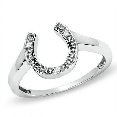 Diamond Accent Horseshoe Ring in 10K White Gold - Zales