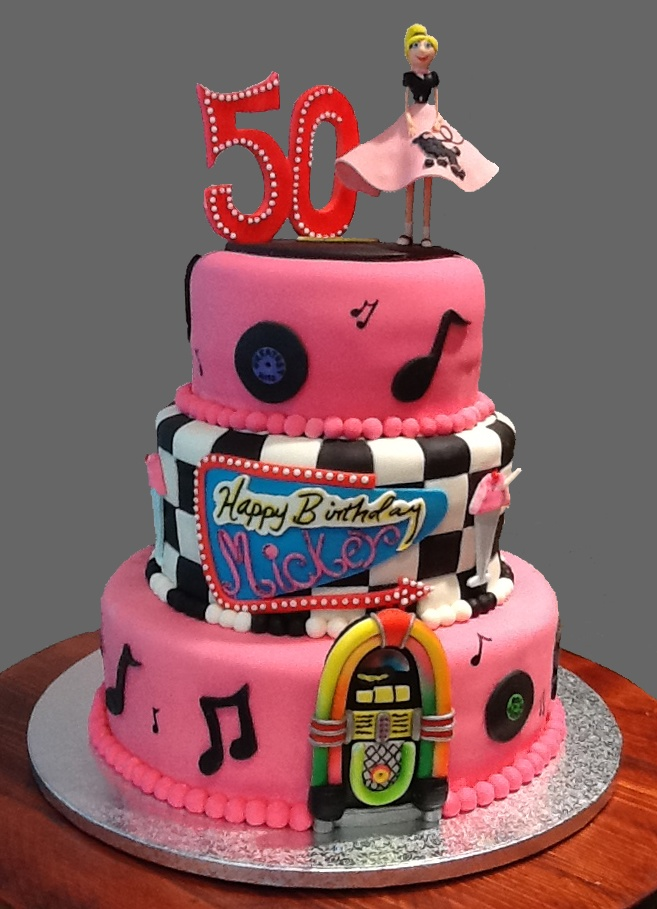50s Birthday Cake With Hand Sculpted Decorations