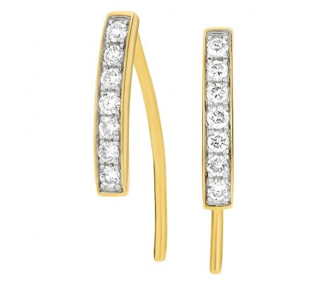 9ct Yellow Gold 0.25ct TDW Bar Earrings. MD1