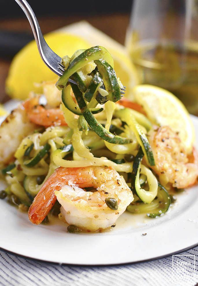 Simple Shrimp Piccata with Zoodles is low-carb, gluten-free, and cooks in under 20 minutes in just one skillet. Fresh, light, and delicious! | iowagirleats.com