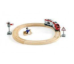 Brio Startset passagierstrein.  De ideale startersset voor kleine machinisten in spé. De houten trein met zijn wagon is handmatig te bedienen over het ronde spoor, voorhij het gevarenbord en het stopsein. Stop af en toe om de passagiers in te laten stappen of uit te laten stappen. Vergeet niet om eerst een kaartje te kopen bij de conducteur!  http://www.brio-trein.nl/brio-treinen-startset-passagierstrein.html