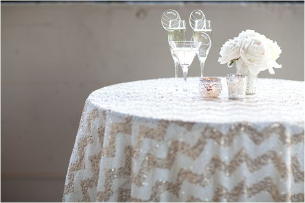 Tons of sparkly wedding ideas including wedding dresses, bridesmaids dresses, shoes, statement necklaces, table linens, and more!