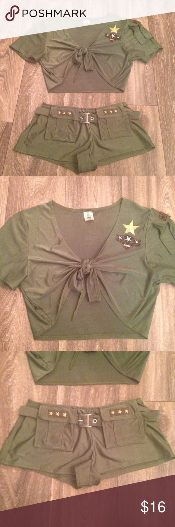 Sexy Army Cadet Costume Lingerie Set Size Medium/Large. I usually wear a medium. Only worn once so it's in great condition. 85% Nylon, 15% Spandex Be Wicked Intimates & Sleepwear