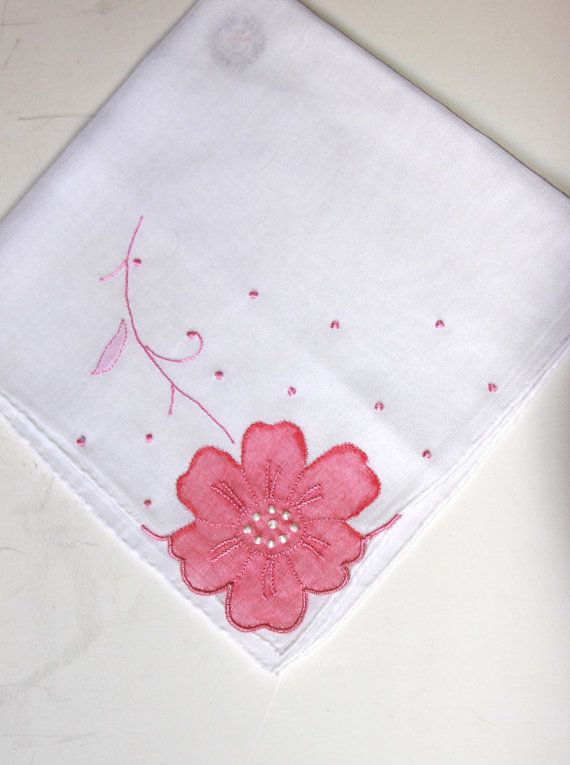 Vintage Handkerchief with Pink Flower Applique  by LadyLyBoutique