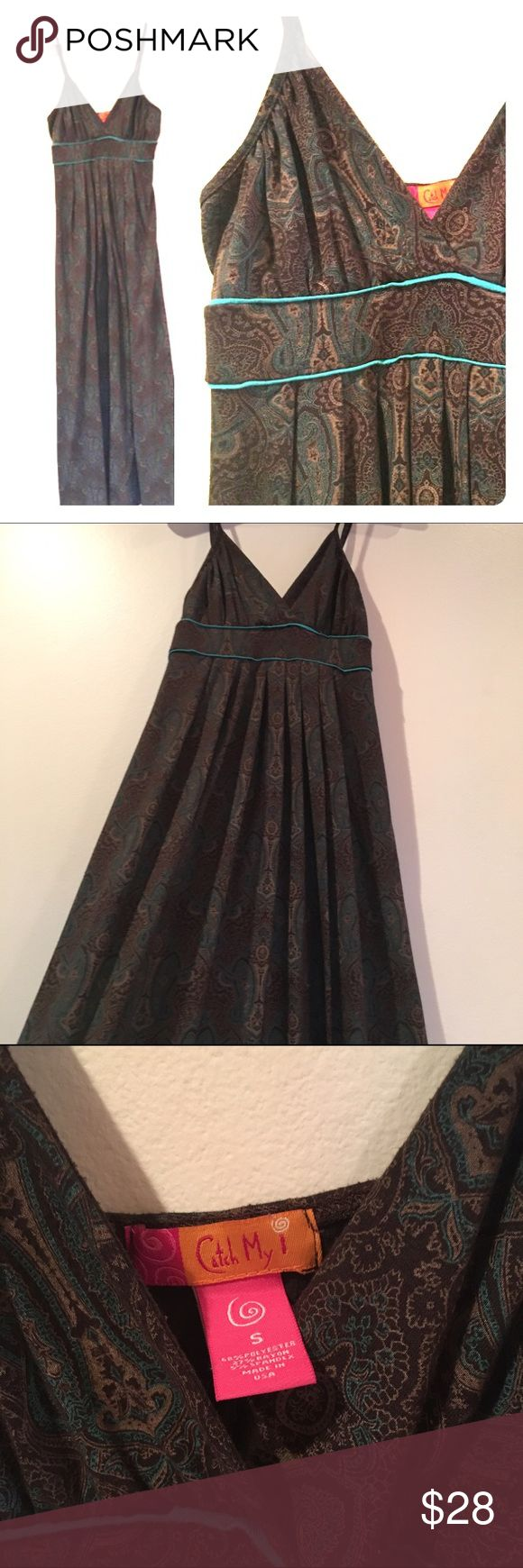 Elegant maxi dress Dark brown with tan and teal accents. Skirt gathered at bodice drapes beautifully and would work as a maternity dress. EUC catch my i Dresses Maxi