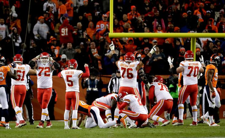 I very much enjoy this photo, taken just as Cairo Santos banked in the 34-yard, game-winning field goal off the left upright, because no one's really sure if it was good or not. The reactions run the gamut, from No. 76's Laurent Duvernay-Tardif's two-fingered exultation, to Santos's uncertainty, to No. 72 Eric Fisher's full-on Surrender Cobra.