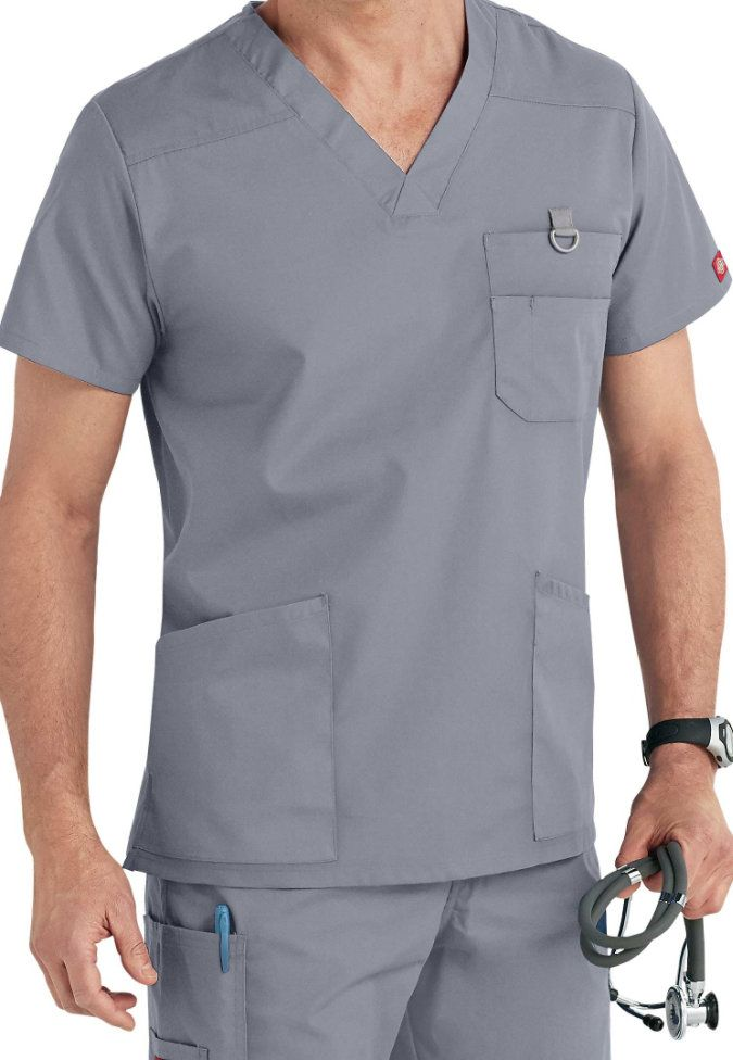 Tony likes neutrals and many pockets. He has scrubs with these brands: Dickies and Carhartt.