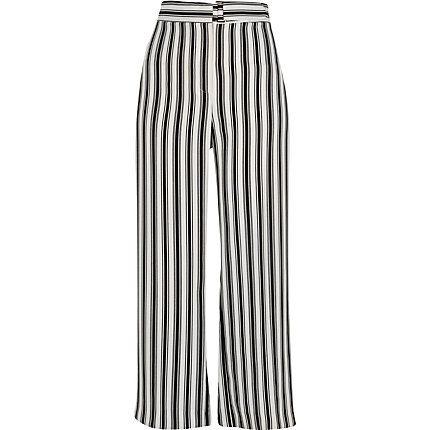 Black stripe print wide leg trousers £38.00