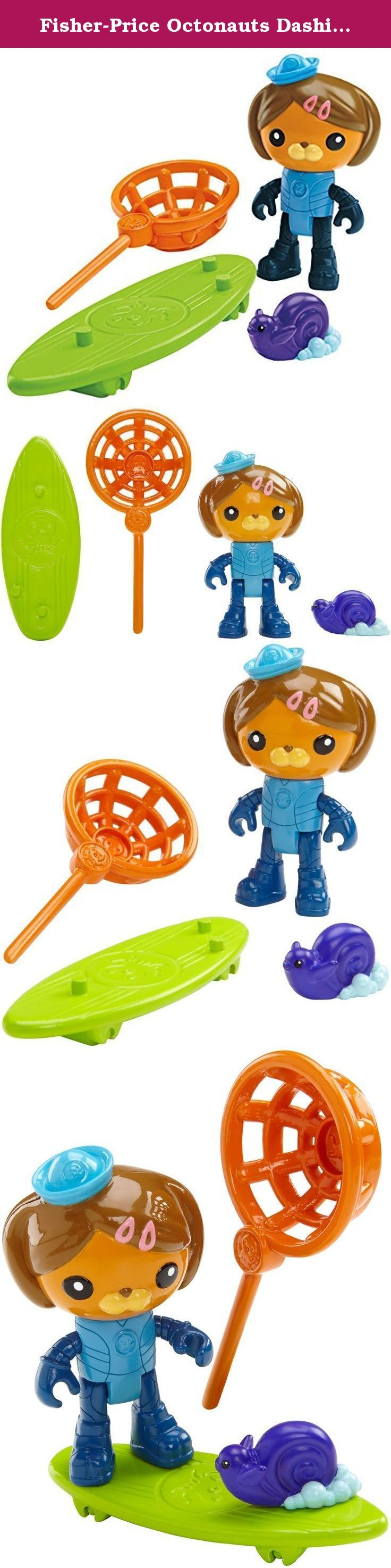 Fisher-Price Octonauts Dashi and The Surfer Snail. When rough water sweeps a surfing snail out to sea, dashi grabs her board and uses her surfing skills to ride to the rescue! Dashi comes with a surfer snail, rescue net and surfboard. Ages 3+.