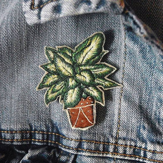 Plants Modern Hand Embroidery Pin House Plant by Shivivka on Etsy