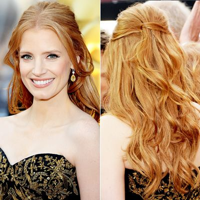The Best Oscar Hairstyles (From Every Angle!) - Jessica Chastain from #InStyle