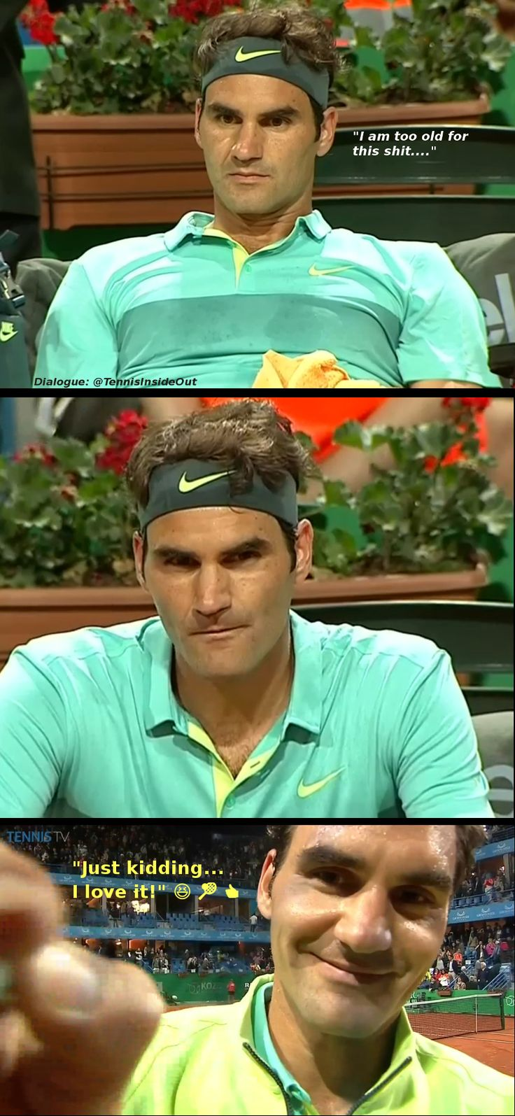 Roger Federer progression of thoughts too old for this shit just kidding I love it Istanbul tennis tournament 2015 Nieminen match sea green teal yellow polo Nike photos images pictures
