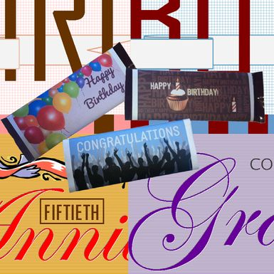 Some of the Microsoft Publisher Format templates available for 1.55 oz Hershey's Milk Chocolate bars or similarly sized candy.