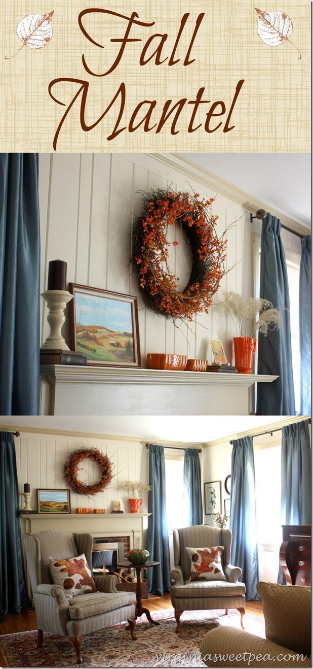 Fall Mantel And Living Room Decor