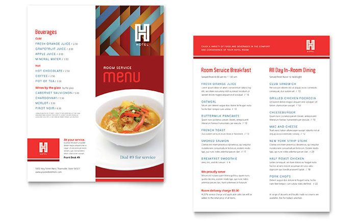 Hotel Menu Template Design by StockLayouts