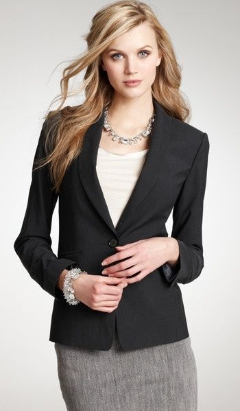 Grey skirt with fitted black blazer