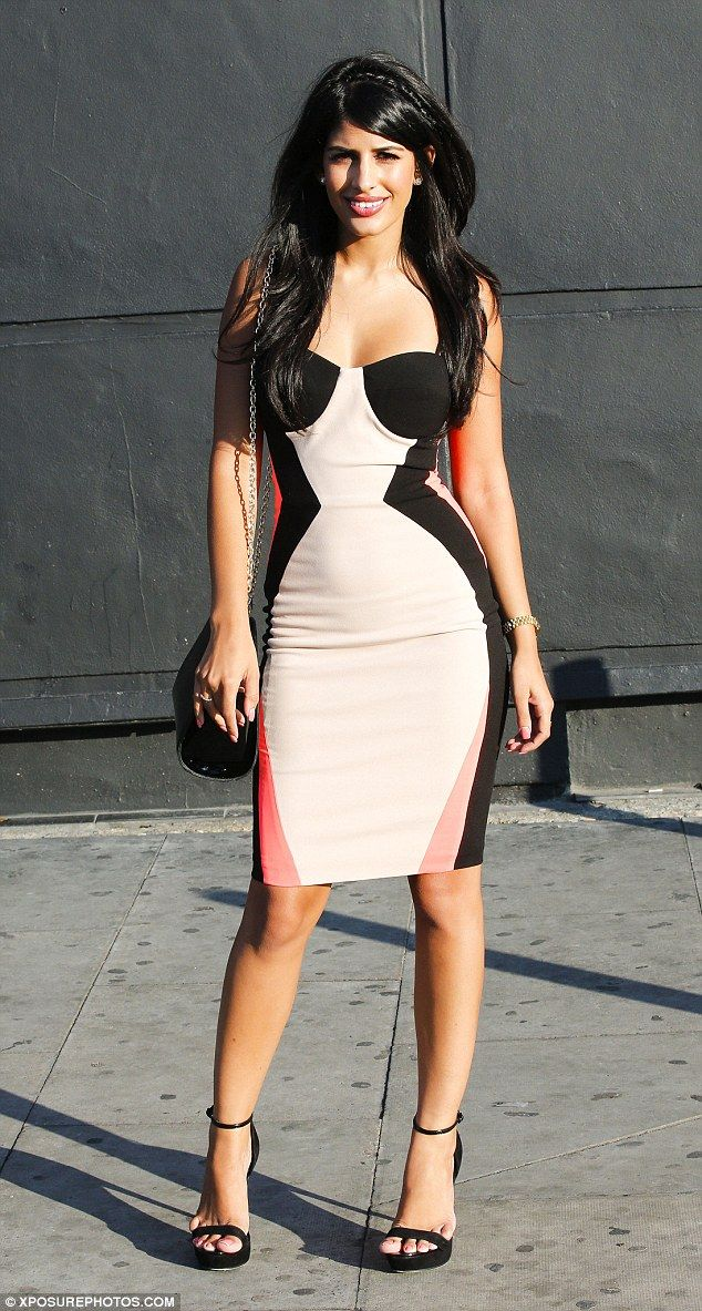 Standing out: Jasmin Walia looked gorgeous in a bodycon strapless dress...