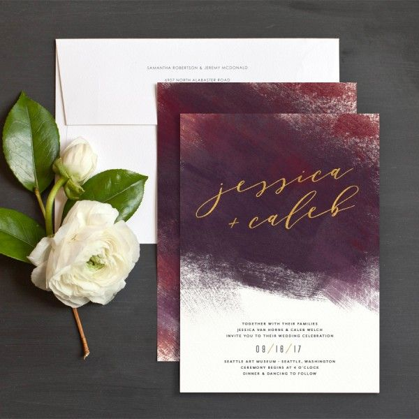 modern brushstroke wedding invitations in burgundy and gold - Wedding Invitations Gold