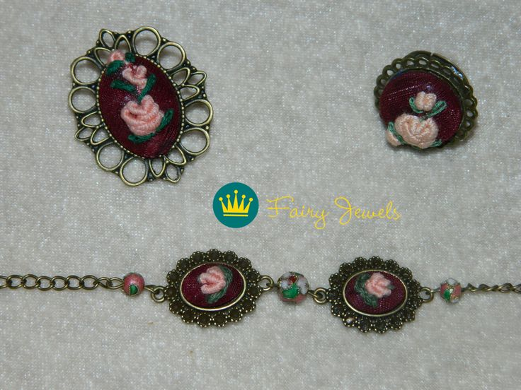 Handmade bracelet, brooch and ring.