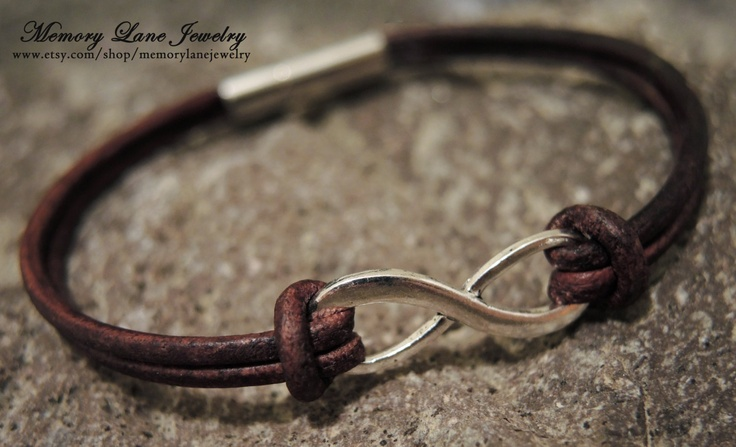 Leather Infintiy Bracelet (Birthstones optional). $18.00, via Etsy.  PERFECT Valentine's Day gift for him or her!  www.etsy.com/shop/memorylanejewelry