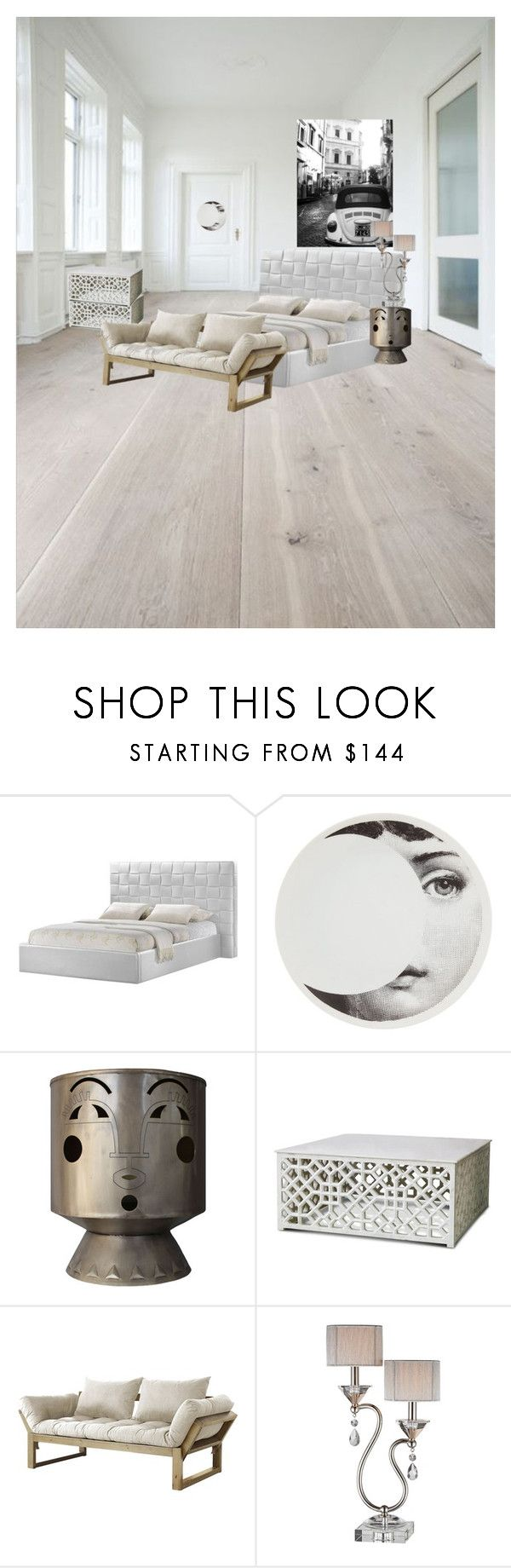 """Eclectic Bedroom"" by dprice15 ❤ liked on Polyvore featuring interior, interiors, interior design, home, home decor, interior decorating, Baxton Studio, Fornasetti, Selamat and Fresh Futon"