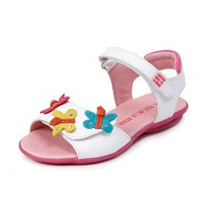 Sandalias niñas blancas tira ancha mariposas de colores Agatha