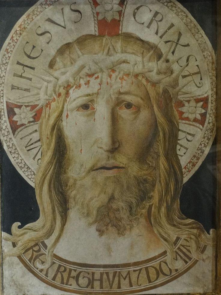 Assisi, Museo del Tesoro della Basilica di San Francesco, Il Santo Volto (circa 1450), inchiostro e tempera su pergamena mantato su tavola, attribuito a Benozzo Gozzoli, già fra le reliquie della basilica di San Francesco.