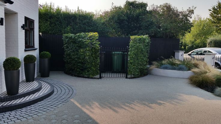 Contemporary front garden design in Woking, Surrey with resin-bound gravel driveway with inset granite sett path.  A curved bin store accessed by a curved gate and screened with Carpinus (Hornbeam). New front wall with rendered blockwork walls and piers.  New curved front steps with blakc and white tiles.  Soft planting of grasses and Box balls.  Designed by Linsey Evans Garden Design  http://www.linseysgardens.com
