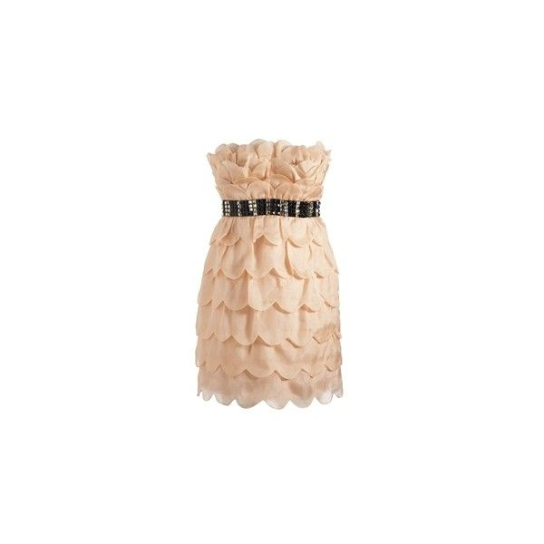 VIP Bejewelled Heart Layer Dress - Lipsy =] ($375) ❤ liked on Polyvore featuring dresses, vestidos, vestiti, kleider, lipsy dress, layered dress, heart shaped dress, lipsy and beige dress