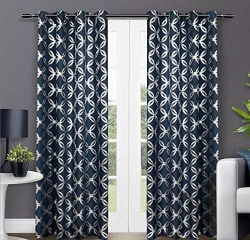Girls Indigo Blue Moroccan Window Curtain 96 Inch Pair Panel Set