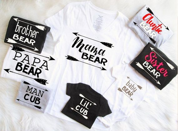 Sets Starting At 26.99 U Pick Colors Mix n' Match Mama Papa Baby Bear  Man Cub Lil' Cub Black White Gray Shirts