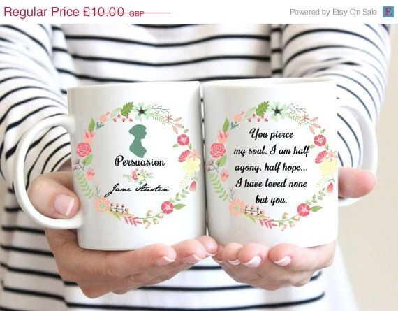 ON SALE Jane Austen Mug, Persuasion, Captain Wentworth's Letter,Half agony, half hope Quote, Floral Design, Romantic Mug, Statement Mug, UK