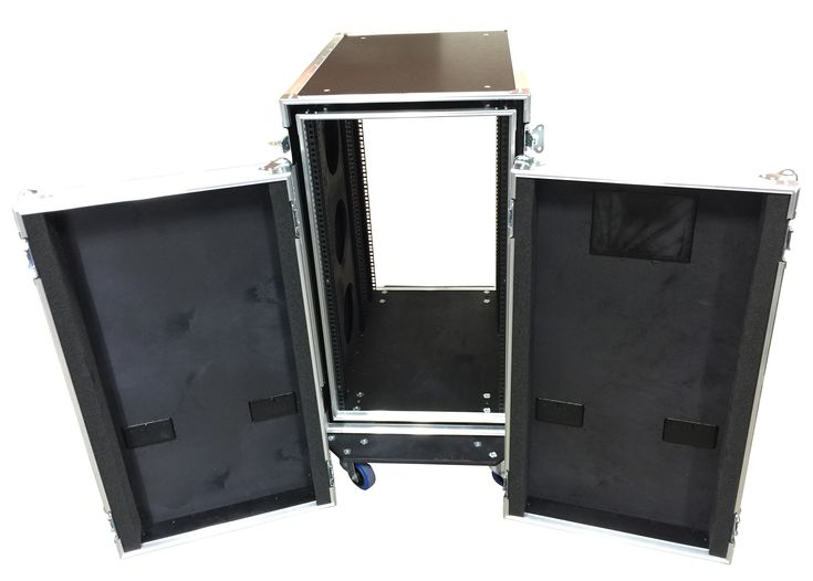 20U Shock Mounted Rack Case 700mm deep manufactured using 9mm PVC material and 9mm plywood sleeve with aluminium extrusion around. 3 Sets of Rack strip and medium label dish on front lid. 90mm deep lid from Best Flight Cases