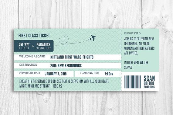 LDS New Beginnings boarding pass invitation, boarding pass - 2015  YW theme announcement - Embark in the service of God