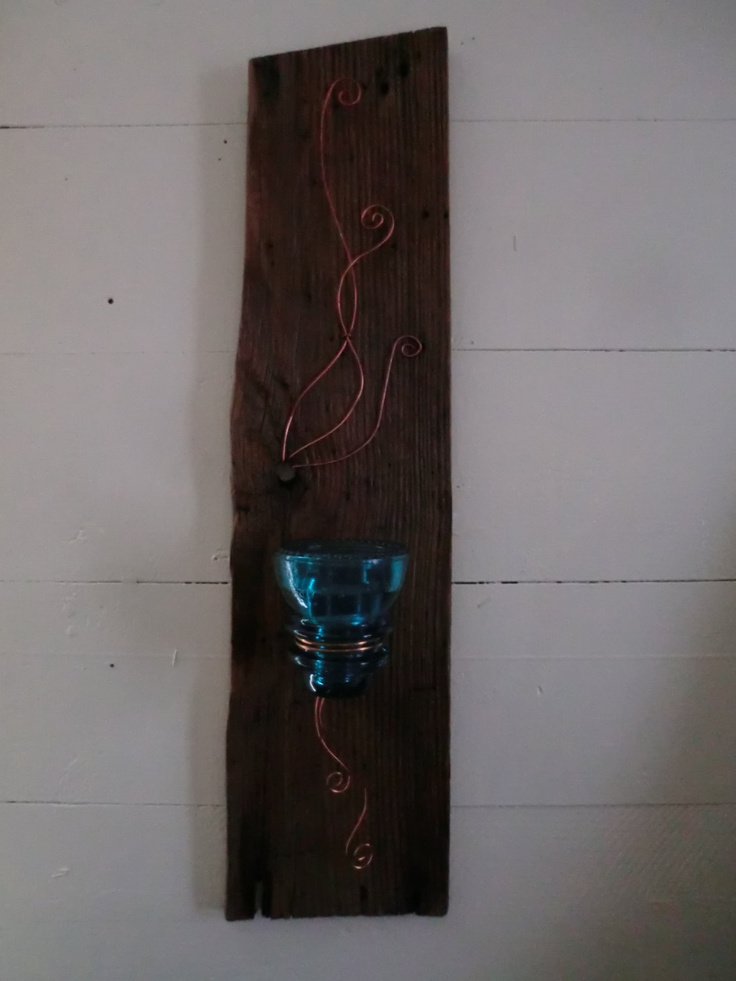 VINTAGE CANDLE HOLDER. This Unique Vintage Candle Holder is made from Reclaimed Materials.  Wire copper & an antique blue glass electric insulator on Century old dried, wire-brushed and varnished Chestnut. ( Holds both candle sticks and Tea Candles)