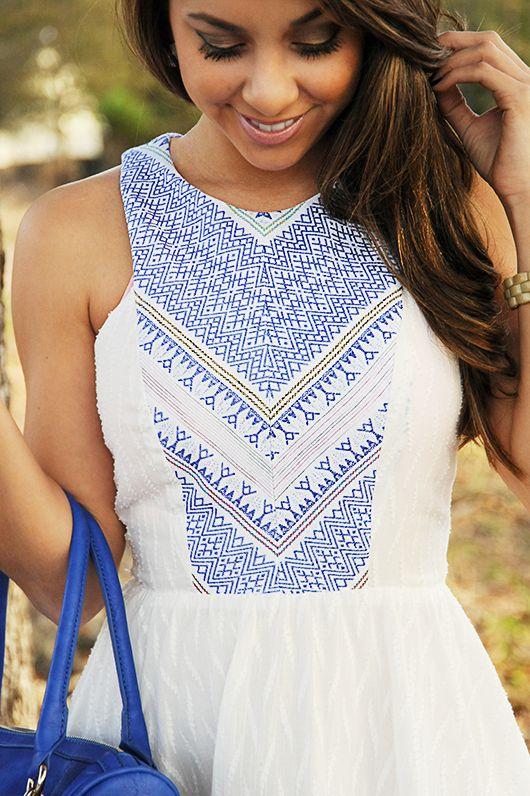 Blown Away Dress: White/Blue | Hope's