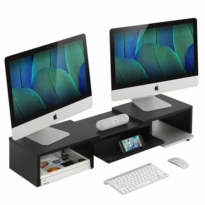 Baumgartner Adjustable Wood Dual Monitor Stand Dual Monitor Stand Monitor Stand Desktop Organization